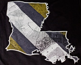 New Orleans Louisiana map t-shirt available in men's or ladies jr fit