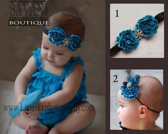 Baby girl lace outfit, 2 pieces teal  Petti Romper Set. Lace Petti Romper , headband and romper, Baby Girl Photo Prop