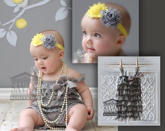 baby lace romper,2 pieces gray and yellow  Petti Romper Set. Lace Petti Romper , headband and romper,baby lace outfit , Baby Girl Photo Prop