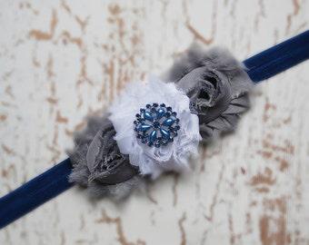 Gray,blue and white Baby headband, vintage headband, shabby chic roses headband, baby hair accessories