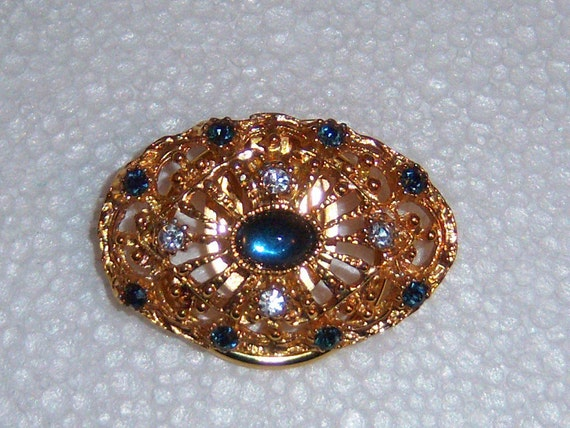 WESTERN GERMANY Scarf Clip With Blue Stones