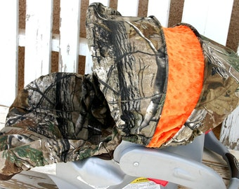 Realtree and orange car seat cover and hood cover