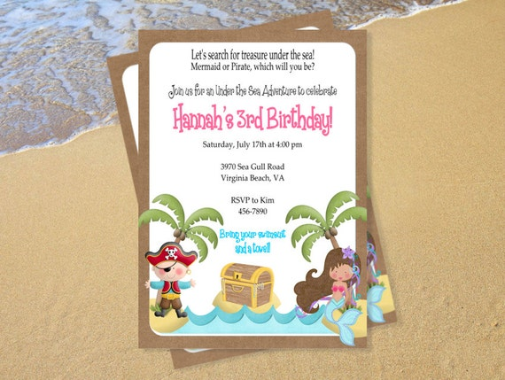 Mermaid and Pirate Invitation Customized Birthday Party Baby Shower