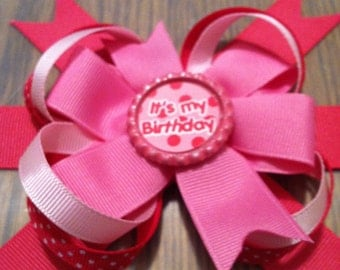 Pink Birthday Hairbow