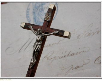 French Vintage cross lot 10 pcs crucifix in rosetree wood wooden crucifix metalcross jesus stamped France