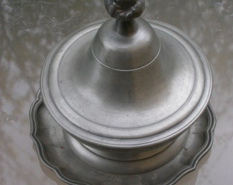 French vintage   silver plated   pot sugar bowl  stamped ornate cover silver metal tray art nouveau