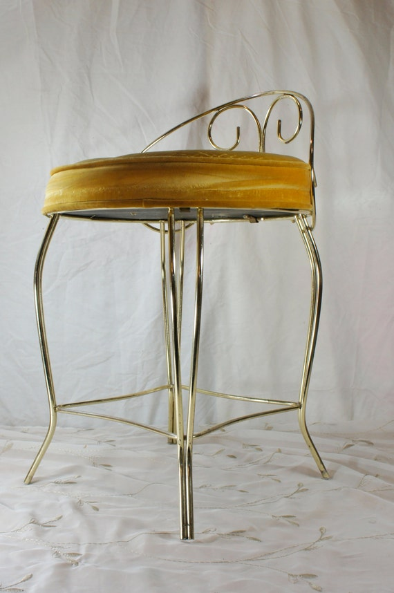 Vanity Stool Gold With Round Velvet Seat Hollywood By Gleaned