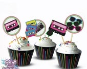 Print Your Fiesta editable digital party set - 80's Retro Party Kit - cards, wrappers, favor tags, toppers, Free shipping