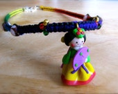 RAINBOW BUCHAE - Korean Girl Rainbow Macrame Necklace - Traditional Fan Upcycled Soft Rubber Yarn Colorful Hippie Festival Rave