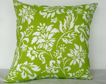 18 x 18 pillow cover. Lime green and white pillow cover. Throw pillow. Decorative pillow cover