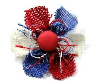 Red, White and Blue Flower Pin - Solid Red Center