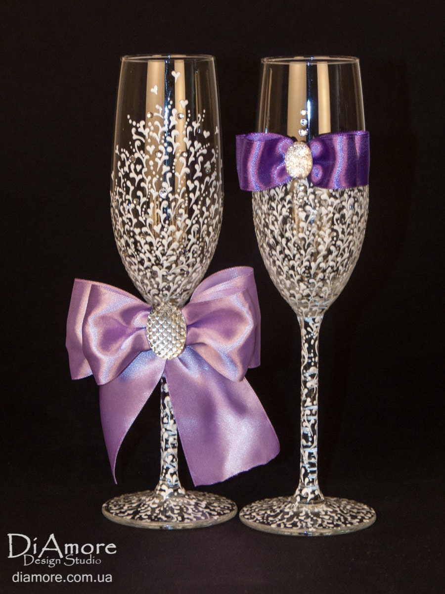 Luxury White Amp Purple Wedding Glasses From The By DiAmoreDS