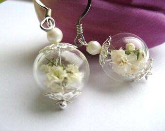 Real Flower Earrings, Baby's Breath Flowers, Bridal Wedding, Bridesmaid Jewelry, Real Flower Jewelry, Baby's Breath Flowers