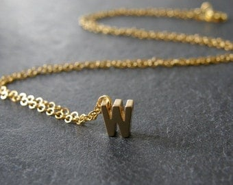 Initial W Necklace, Gold Initial, Personalized Initial Necklace, Simple, Modern, Everyday