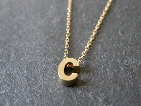 Personalized initial necklace letter c gold necklace for Letter c gold pendant