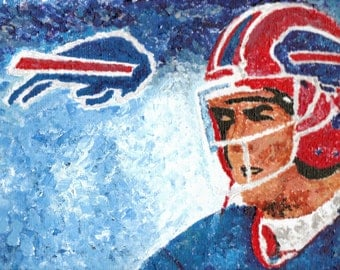 Jim Kelly Hall of Fame Quarterback Buffalo Bills Reproduction Painting 8x10