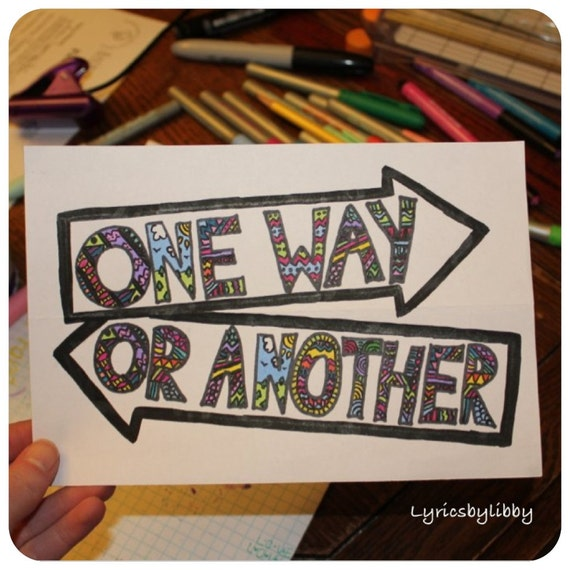 One Direction Song Lyric Drawings Items Similar to One Way or