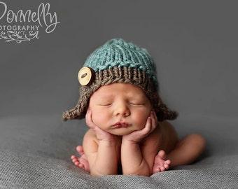 Baby Boy Hat, Aviator Hat, Knit Baby Hat, Knitted Newborn Hat, Little Flyer Hat, Blue, Brown, Newborn Photo Prop, Knitted Baby Hat