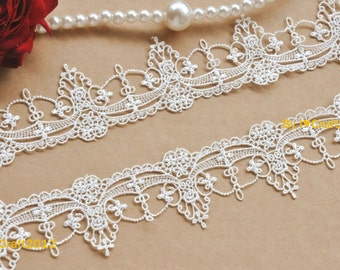 White Venice Lace Chic Retro Gothic Aulic Lace Trim 1.96 Inches Wide 2 Yards Costume Headware Supplies