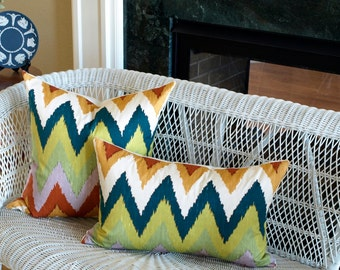 Schumacher ADRAS IKAT Designer Lumbar Pillow Cover in Caravan, Accent Pillow, Toss Pillow, Throw Pillow Many Sizes
