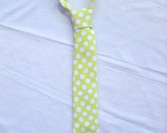 Boy tie Little boy tie toddler tie easter tie spring tie velcro tie Michael Miller lime TaDot fabric tie