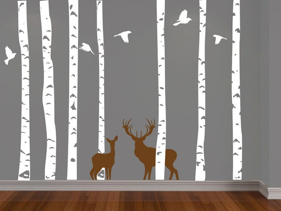 Items Similar To Deer Doe And Buck In Birch Tree Forest