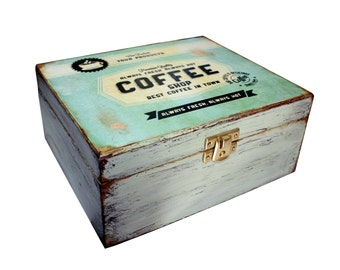 Coffee - Tea Decoupage Box - Spring Green -Shabby Chic