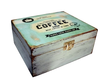 Coffee - Tea Decoupage Box - Spring Green -Shabby Chic