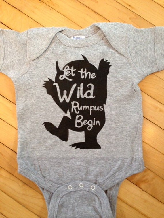 Cute Where The Wild Things Are Let The Wild Rumpus Begin Baby Body Suit One Piece Creeper- Pick Your Color. Pick Your Size.
