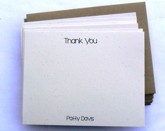 20 Flat Note Cards Personalized Thank You Cards notecards Wedding Graduation Kraft Masculine Neutral Simple