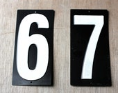 6 and 7 - Vintage Numbers - Black and White - Metal Numbers - Calendar - Address - Scoreboard