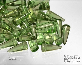 10 pcs Olive Czech Glass Spike Beads 13x5mm (6946)