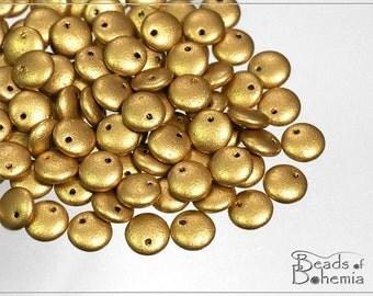 Silky Metallic Sand Czech Lentil Beads 6 mm, 50 pcs (7464)