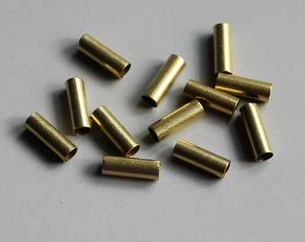 200pcs Cut Raw Brass Tube Cylinder Shape Beads10mm x 3.5mm - F52