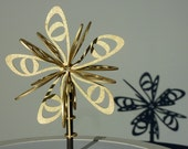 modern Christmas tree topper / star -- laser-cut Latvian birch wood in silver or gold