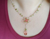 CHERRY QUARTZ FLOWER - Handmade Necklace Wire Wrapped Wirework Jewelry Silver Plated Wire Hammered - Peridot Faceted Teardrop Crystal Dangle