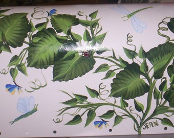 Green Leaves & Vines with Butterflies and Dragonflies Custom Requested Only