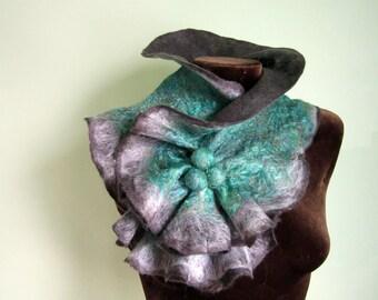 Large Size Felted wool Scarf Neckpiece Collar. Shibori gray & sea green Art