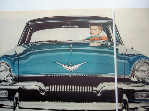 1954 2page car ad 1955 model blue plymouth belvedere 4 door for 1955 plymouth belvedere 4 door sedan