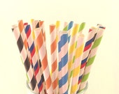 25 RETRO striped paper straws, weddings , baby shower, party, occasion, celebrations
