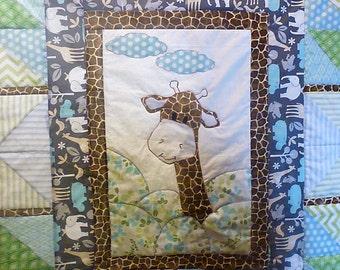 Appliquéd Jungle Animal Baby Quilt (Giraffe Shown)