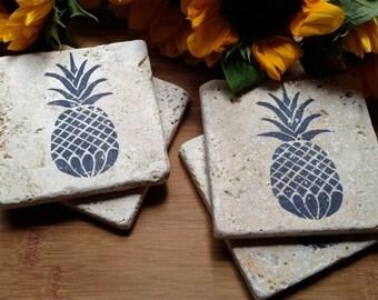 Pineapple Natural Stone Coaster Set,  Wine Coaster, Drink Coaster Set, Tea Coaster