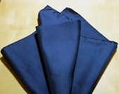Vintage Navy Blue Silk Pocket Square Made in Italy
