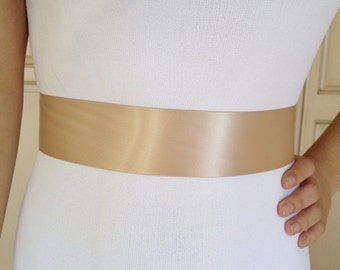 Champagne Sash,Simple Wedding Sash, Bridesmaid Sash, Bridal Sash , Wedding Belt Sash,Champagne  Ribbon Sash