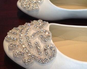 Size 7 Flat Bridal Shoe,Rhinestone Shoe,Wedding Shoe, Flat Rhinestone  Shoe