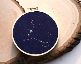 "Pisces Constellation Embroidery 4"" Hoop"