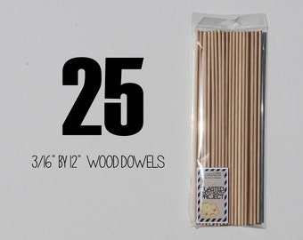 """25 - 3/16"""" by 12"""" Birch Wooden Dowels Perfect for Photo Booth Prop Assembly"""