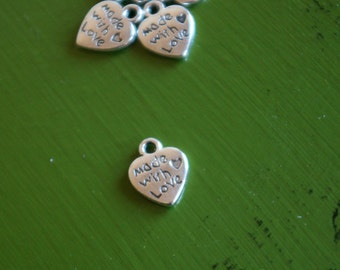 Silver Heart-Made With Love- Charm- Set of 5            -139-