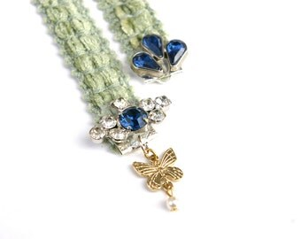 Soft Sage Bookmark with Blue Gems and Butterflies