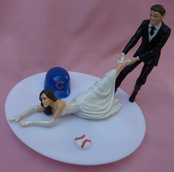 Wedding Gifts Chicago: Wedding Cake Topper Chicago Cubs G Baseball Themed W/ Bridal